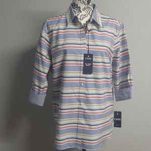 NWT Beautiful Chaps Spring  Cotton Button Up Shirt